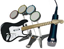 Standard Rock Band instrument controllers