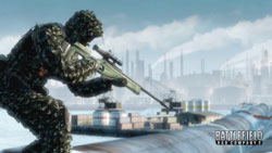 Sniper taking aim from a distance in Battlefield Bad Company