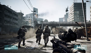 Leading your squad of Marines in Battlefield 3