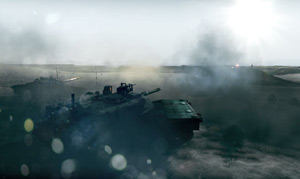 A tank squad on the move shelling a position while taking return fire in Battlefield 3
