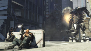 The Rust Crew using cover to defend against a huge robot in Binary Domain