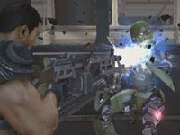 Dan Marshall blowing a robot to bits at close range in Binary Domain