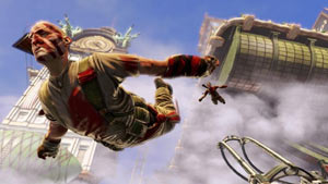 Vox Populi faction members freefalling through the airborn city in BioShock Infinite