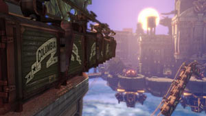The floating airborn city of Columbia from BioShock Infinite