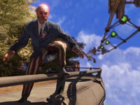 A Founders faction member about to attach to the Sky-Line handheld rail system in BioShock Infinite