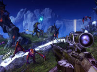 Enemies attacking in a detailed landscape within Borderlands 2