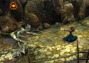 Merida battling a tree like forest creature in Brave: The Video Game