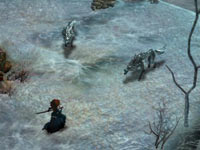 Merida battling wolf like creatures in Brave: The Video Game