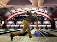 Male character putting spin on a ball in Brunswick Pro Bowling