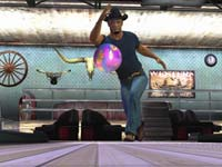 A cowboy character in a western themed bowling alley hurling a ball down the lane in Brunswick Pro Bowling