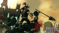Eddie battling death rocker zombie types in 'Brütal Legend'