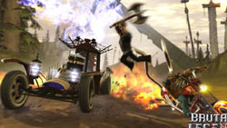 Side-by-side vehicular combat in 'Brütal Legend'