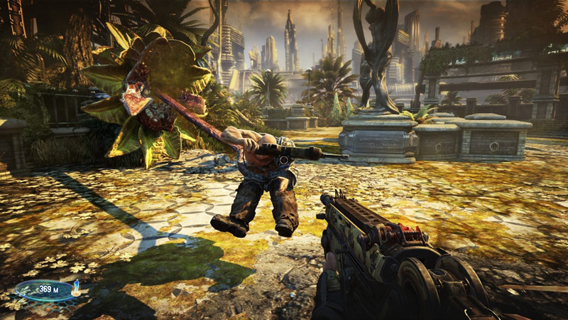 carnivorous plant taking beating you to an enemy in Bulletstorm