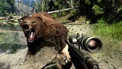 Aiming a scoped rifle at a charging grizzly bear in 'Cabela's Big Game Hunter 2010'