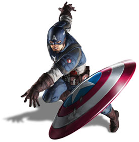 Captain America throwing his shield right at you