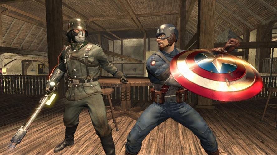 Captain America battling a nazi in Captain America: Super Soldier