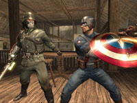 Captain America battling a nazi in Captain America: Super Soldier