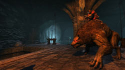 Gabriel mounted on a warg in Castlevania: Lords of Shadow