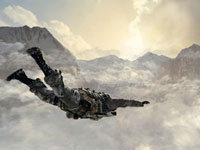 Base jumping off a snowcapped mountain side in Call of Duty: Black Ops