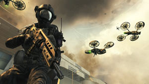 A helmeted character backed up by combat drone support in Call of Duty: Black Ops II