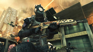 A gas masked character backed up by combat drone support in Call of Duty: Black Ops II