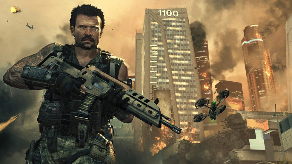 Sgt. Frank woods with combat drone behind him in Call of Duty: Black