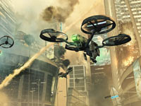 Combat drones firing about ground positions inside Call of Duty: Black Ops II