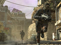 Human ground units scrabling through a Middle Eastern city neighborhood in Call of Duty: Black Ops II