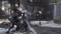 Taking fire from behind a riot shield in 'Modern Warfare 2'