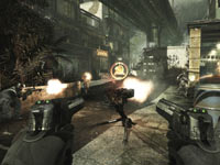 Dual wielding pistols behind a Trophy System turret gun in Call of Duty: Modern Warfare 3