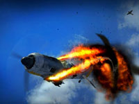 A German fighter shot down in flames in Combat Wings: The Great Battles of WWII