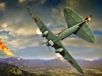 A Russian Ilyushin Il-2 shooting down a German Luftwaffe enemy in Combat Wings: The Great Battles of WWII