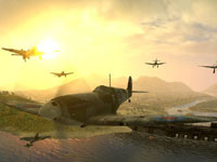 British Spitfire and German Messerschmitt fighters engaging above a European battlefield in Combat Wings: The Great Battles of WWII