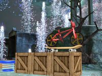 A bicycle and skateboard combination against fireworks in Create