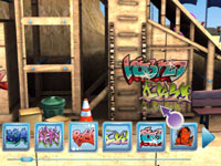 Graffiti tags used as customization in an urban game environment from Create