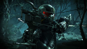 A close-up of Prophet about to release an explosive arrow in Crysis 3