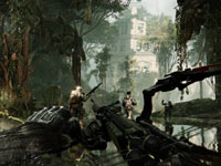 A first-person view during a combat mission in Crysis 3