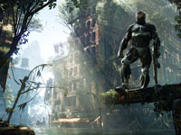 Prophet standing against the backdrop of the jungle city in Crysis 3