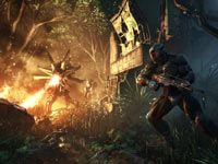 Prophet taking cover against a flame-throwing enemy in Crysis 3