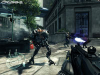 Taking aim at an alien enemy in Crysis 2