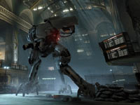 An alien enemy rampaging through an abandoned building in Crysis 2