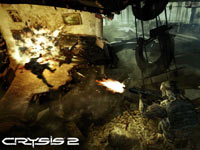 Concentrating fire downwards on enemies encountered in a shattered highrise in Crysis 2