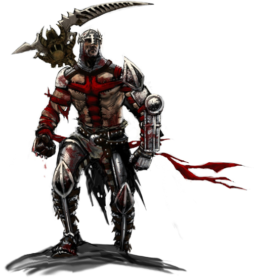 Concept art from Dante's Inferno showing Dante with stiched on