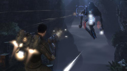 Aerial combat using the hooverpack in 'Dark Void'