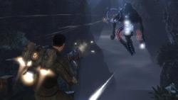 Aerial combat using the hooverpack in 'Dark Void'