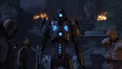 A Watcher Sergeant in a human village in 'Dark Void'