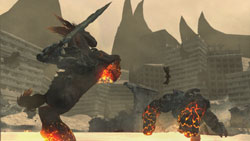 War fighting fighting atop his trusted mount Ruin in 'Darksiders'