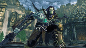 Death ready to battle from an attack crouch in Darksiders II