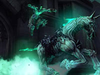 Death jumping onto his pale mount in Darksiders II