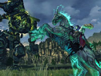 Death using his pale mount in battle in Darksiders II